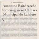 Antônio Baité recebe homenagem na Câmara Municipal de Lafaiete. Jornal Correio da Cidade, Conselheiro Lafaiete, 24 a 30 de abril de 2021, 1573ª ed., Caderno Política, 2021, p. 13.