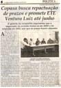 Copasa busca repactuação de prazos e promete ETE Ventura Luiz até junho. Jornal Correio da Cidade, Conselheiro Lafaiete, 24 mar. 2018 a 30 mar. 2018, 1414ª ed., Caderno Política, p. 6.