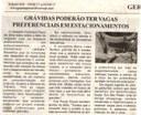 Grávidas poderão ter vagas preferenciais em estacionamentos. Jornal Nova Gazeta, Conselheiro Lafaiete, 16 set. 2017 a 22 set. 2017, 926ª ed., Ano XXI, Caderno Gerais, p 9.