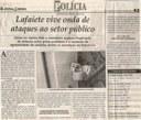 Lafaiete vive onda de ataques ao setor público. Jornal Correio da Cidade, Conselheiro Lafaiete, 23 jun. 2018 a 29 jun. 2018. Caderno Polícia, 1427 ª ed. , p. 43.