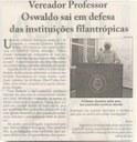 VEREADOR Oswaldo Barbosa sai em defesa de instituições filantrópicas. Jornal Correio da Cidade, Conselheiro Lafaiete, 06 a 12 fev. 2021, p. 06.