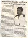 Vereador Sandro cobra mobilização para evitar tragédias na BR-040. Jornal Correio da Cidade, Conselheiro Lafaiete, 17 mar. 2018 a 23 mar. 2018, 1413ª ed., Caderno Política, p. 6.
