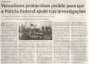 Vereadores protocolam pedido para que a Polícia Federal ajude nas investigações. Jornal Correio, Conselheiro Lafaiete, 17 julho. 2021, 1585ª ed., Caderno política, p. 06.