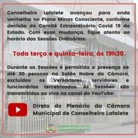 FIQUE ATENTO AO HORÁRIO DAS SESSÕES ORDINÁRIAS: TERÇAS E QUINTAS-FEIRAS, ÀS 19H30